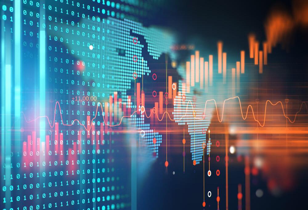 Financial charts concept