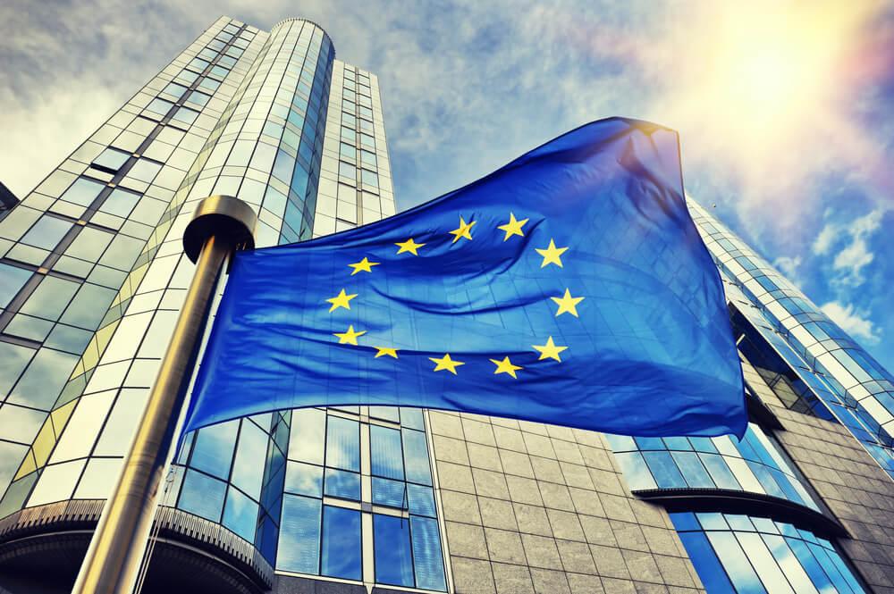 EU flag waving, european stocks, britain
